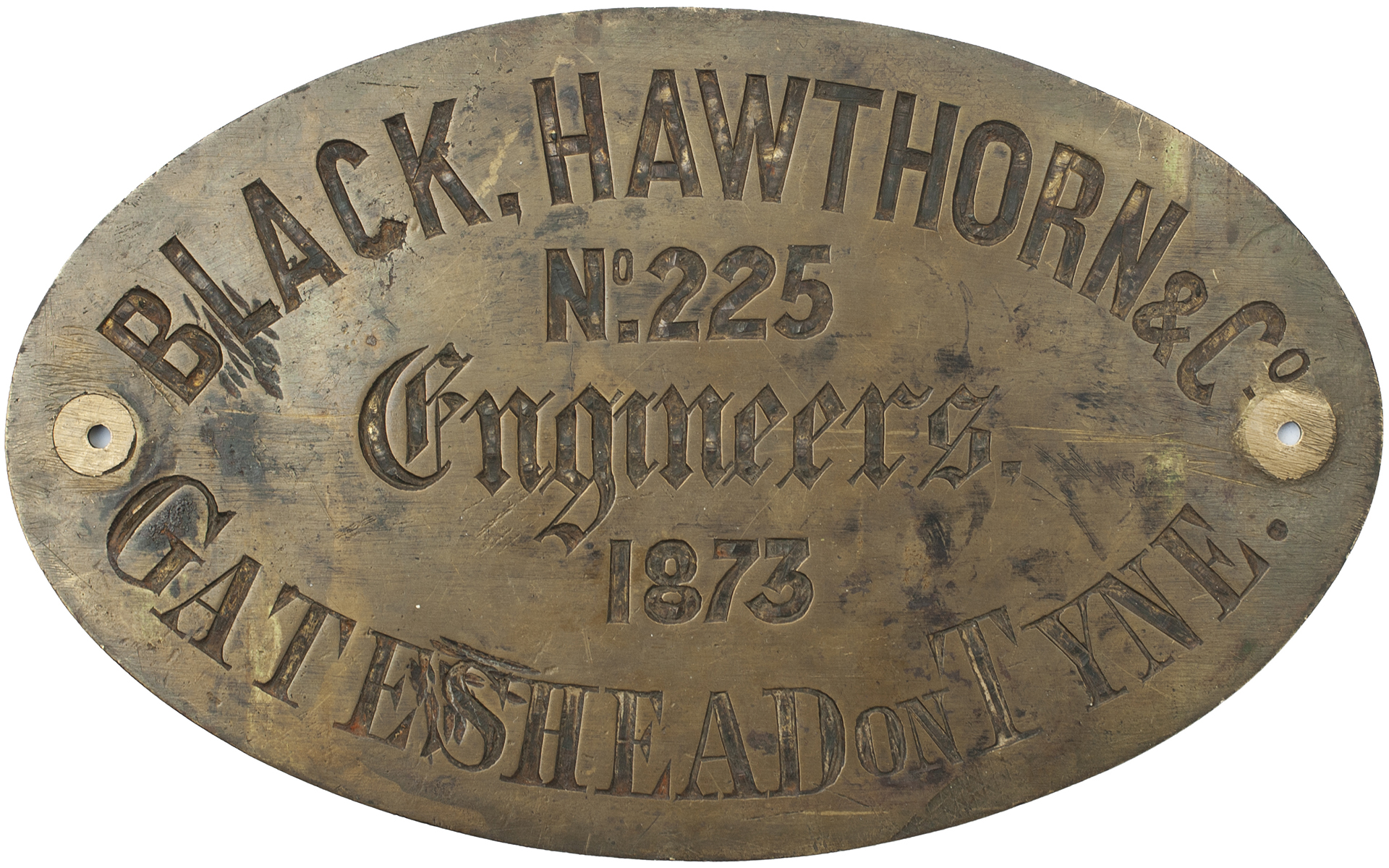Worksplate BLACK HAWTHORN & Co ENGINEERS GATESHEAD ON TYNE No 225 1873. Ex 4-4-0T supplied to the