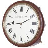 Great Northern & Great Eastern Railway 12in dial teak cased railway clock with a cast brass bezel