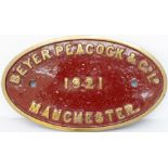 Worksplate BEYER PEACOCK & CO LD MANCHESTER 1921. Locomotives built this year with this style of