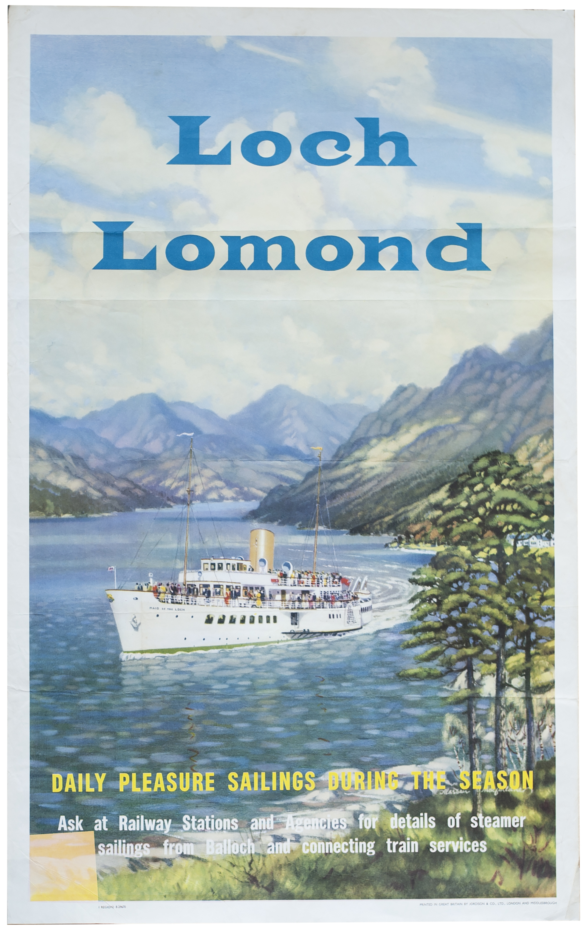 Poster BR(SC) LOCH LOMOND by Alasdair MacFarlane. Double Royal 25in x 40in. In very good