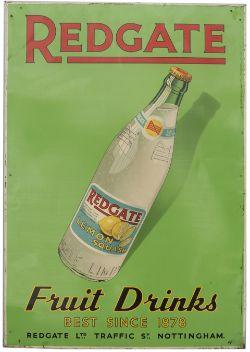 Advertising sign REDGATE FRUIT DRINKS BEST SINCE 1878 REDGATE LTD TRAFFIC ST NOTTINGHAM LEMON