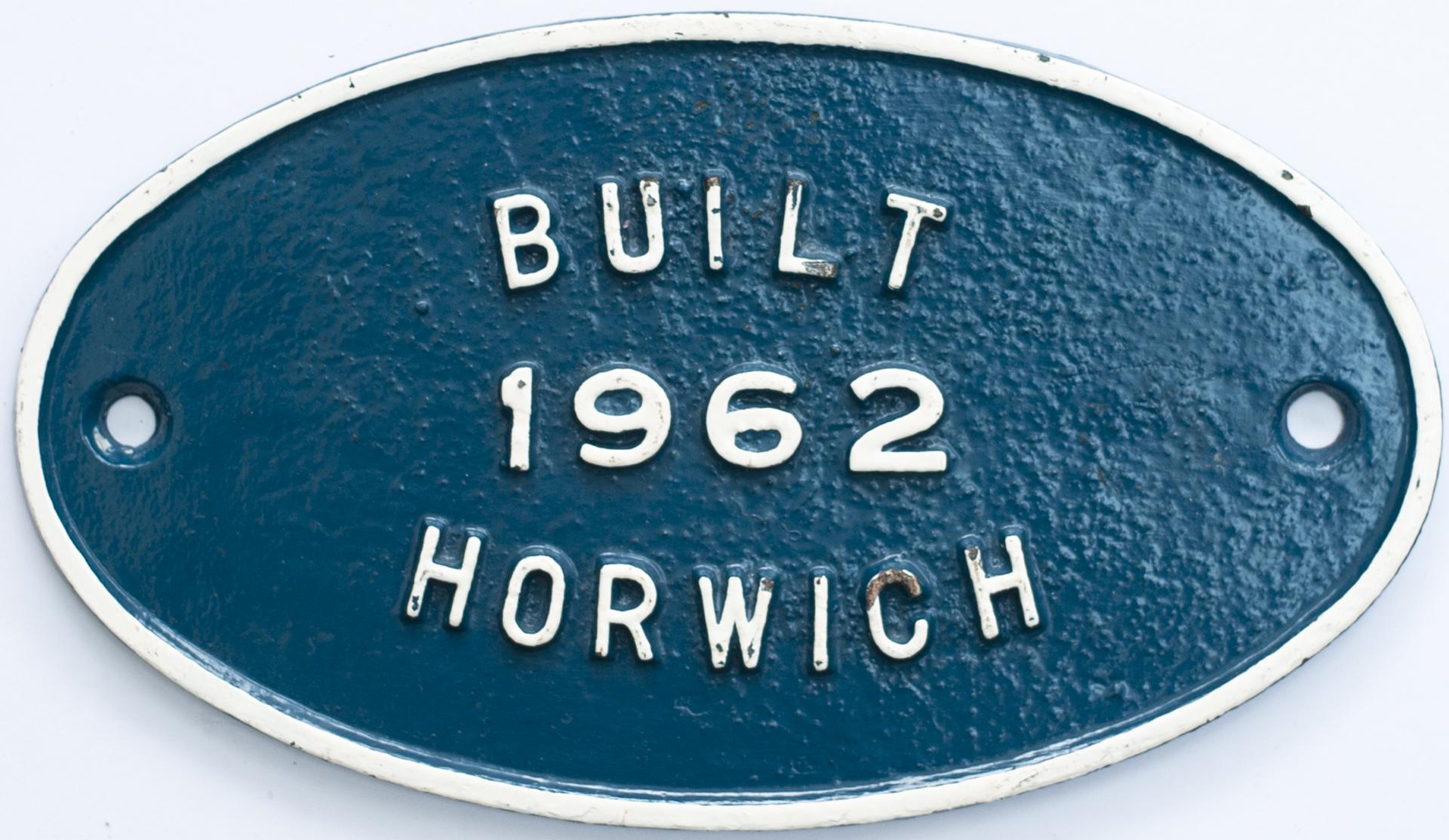 Worksplate BUILT 1962 HORWICH ex British Railways class 08 diesel number 08906. New to 14A