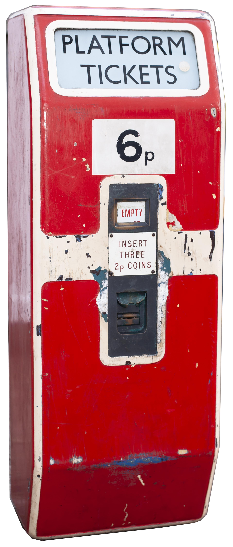 British Railways Southern Region platform ticket machine complete with enamel plates, makers plate