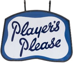 Advertising double sided enamel sign PLAYERS PLEASE complete with original steel frame with both