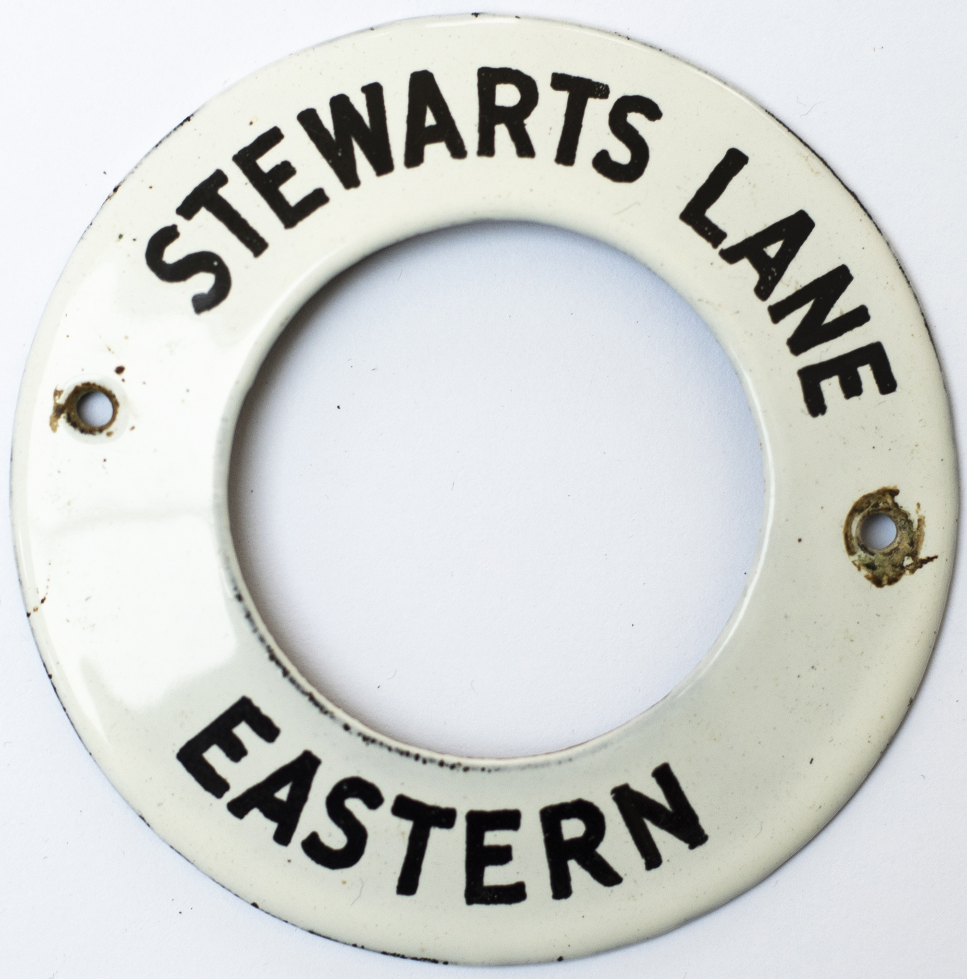 Southern Railway enamel signal box Bell Plunger ring STEWARTS LANE EASTERN. Measures 3in diameter