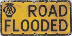 Road sign AA ROAD FLOODED. Pressed aluminium in original condition with reflective paint. Measures