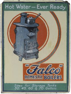 Advertising enamel sign FALCO DOMESTIC BOILERS HOT WATER - EVER READY. In very good condition with