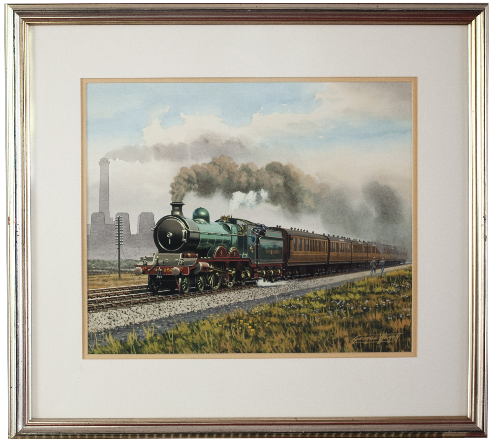 Original painting GREAT CENTRAL 4-4-2 No258 hauling an express with a rake of teak coaches by George
