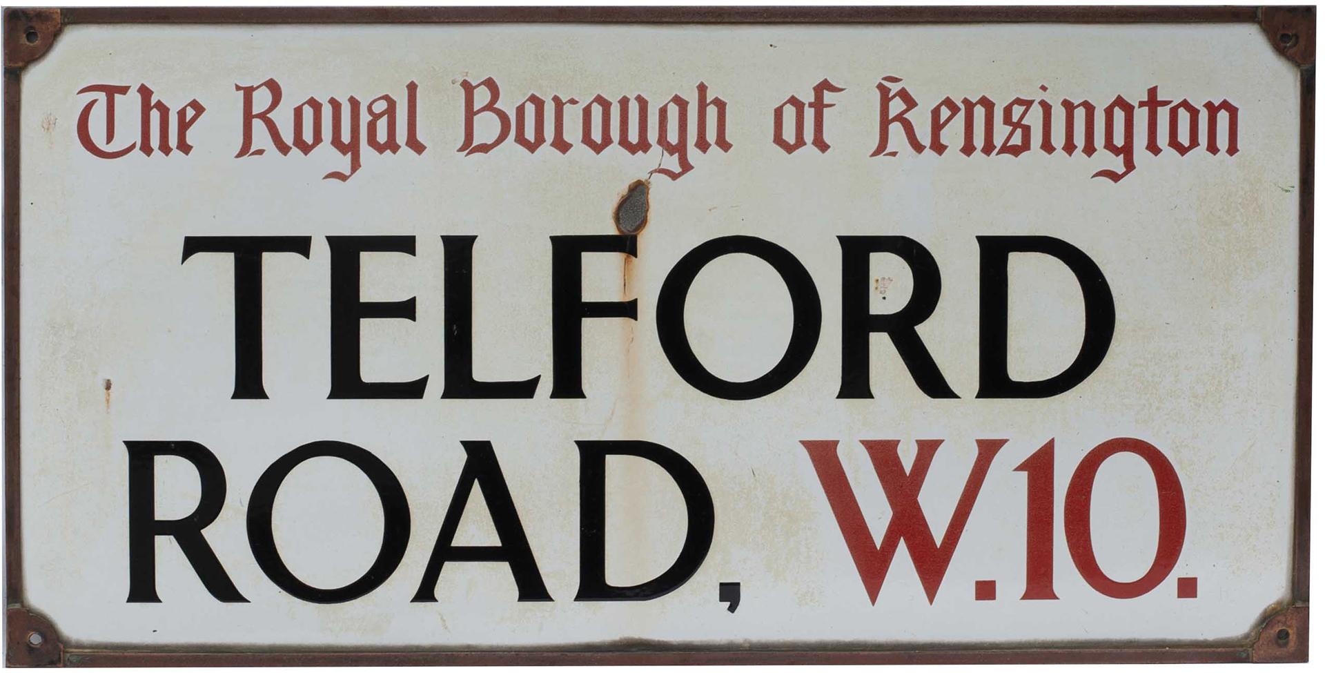 Road sign THE ROYAL BOROUGH OF KENSINGTON TELFORD ROAD W.10. Enamel with original bronze frame,