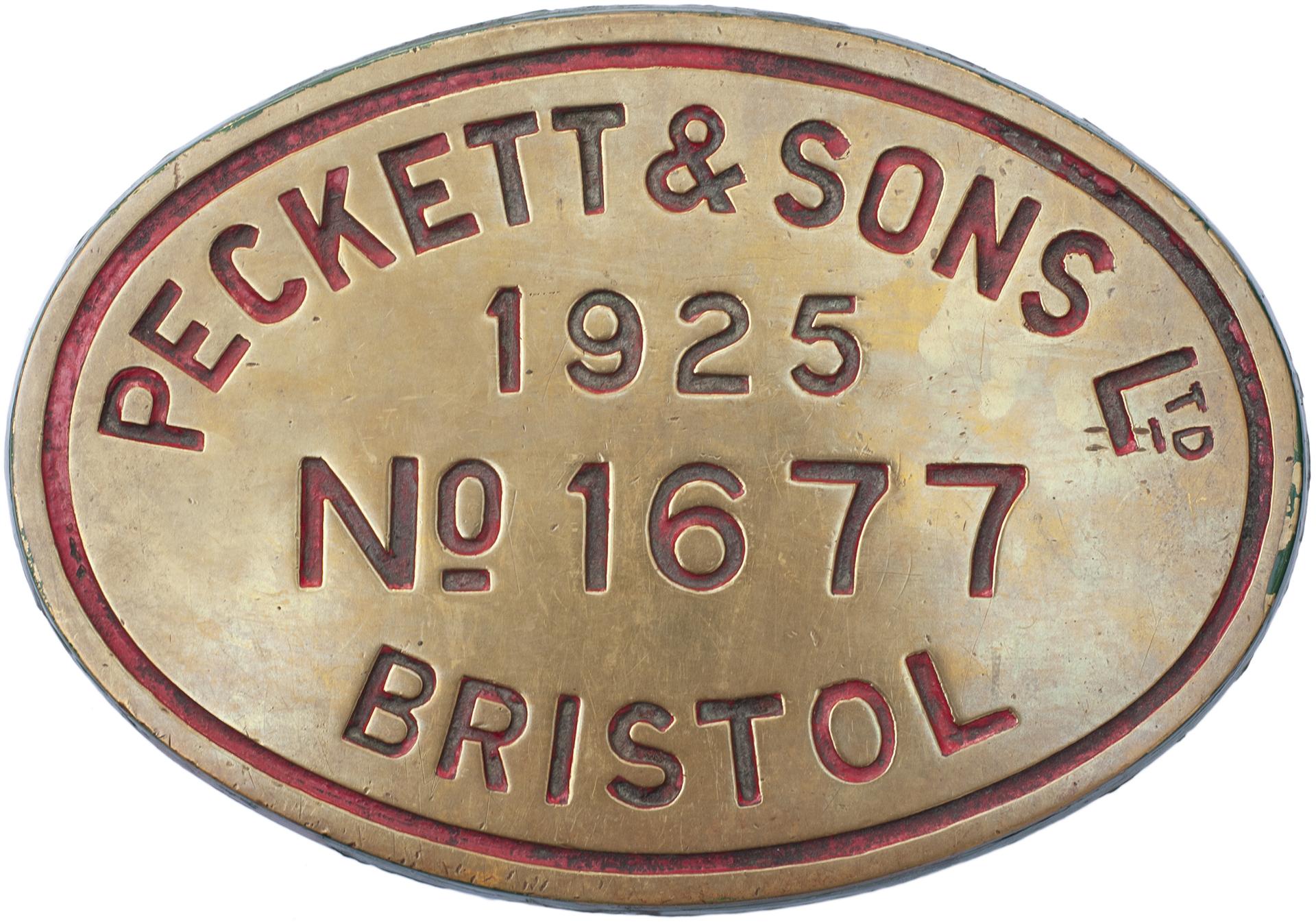 Worksplate PECKETT & SONS LTD BRISTOL NO 1677 1925. Ex standard gauge 0-4-0ST with outside cylinders