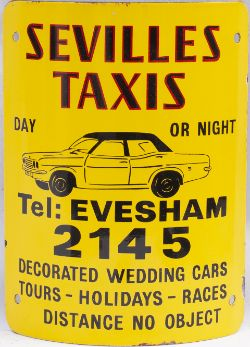Advertising enamel sign SEVILLES TAXIS EVESHAM 2145 with image of a Vauxhall Victor. In excellent