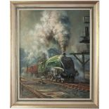 Original painting LNER A4 4-6-2 UNION OF SOUTH AFRICA 60009 on the Elizabethan Express by Alan