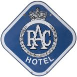 Advertising enamel motoring sign RAC HOTEL. Double sided, both sides in very good condition with