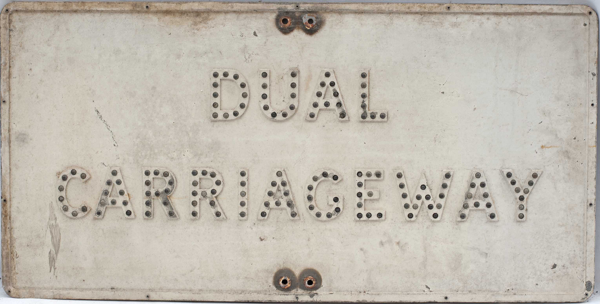 Road sign DUAL CARRIAGEWAY measuring 36in x 18in. Cast aluminium with steel backing plate and