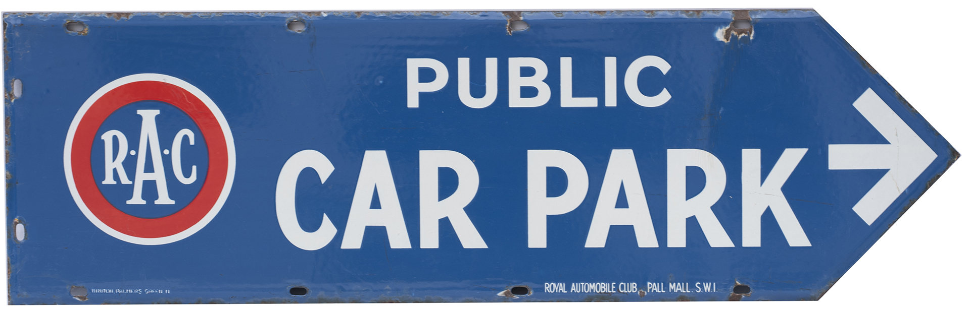 Advertising enamel motoring sign R.A.C PUBLIC CAR PARK circa 1920's. Double sided, both sides in