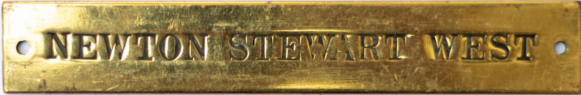 Portpatrick and Wigtownshire Joint Railway brass signal box shelfplate NEWTON STEWART WEST. Hand