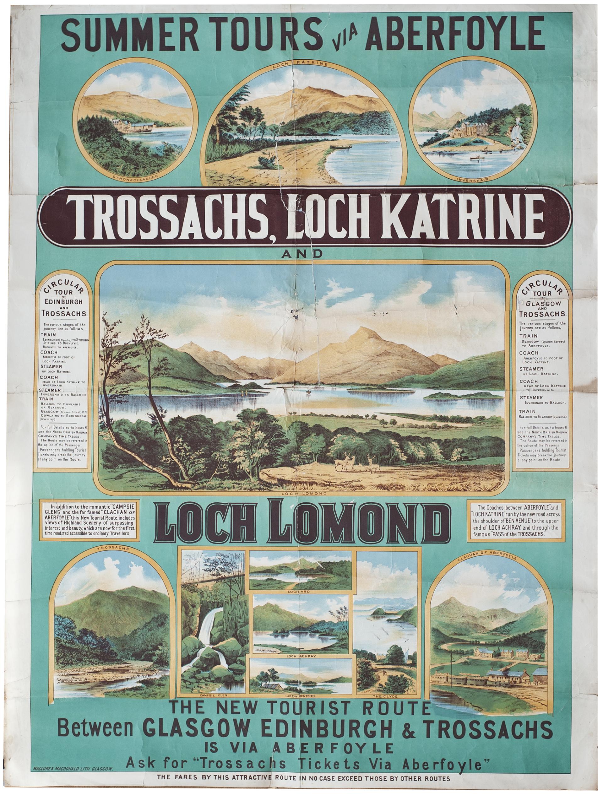 Poster NORTH BRITISH RAILWAY SUMMER TOURS VIA ABERFOYLE, TROSSACHS, LOCH KATRINE AND LOCH LOMOND.