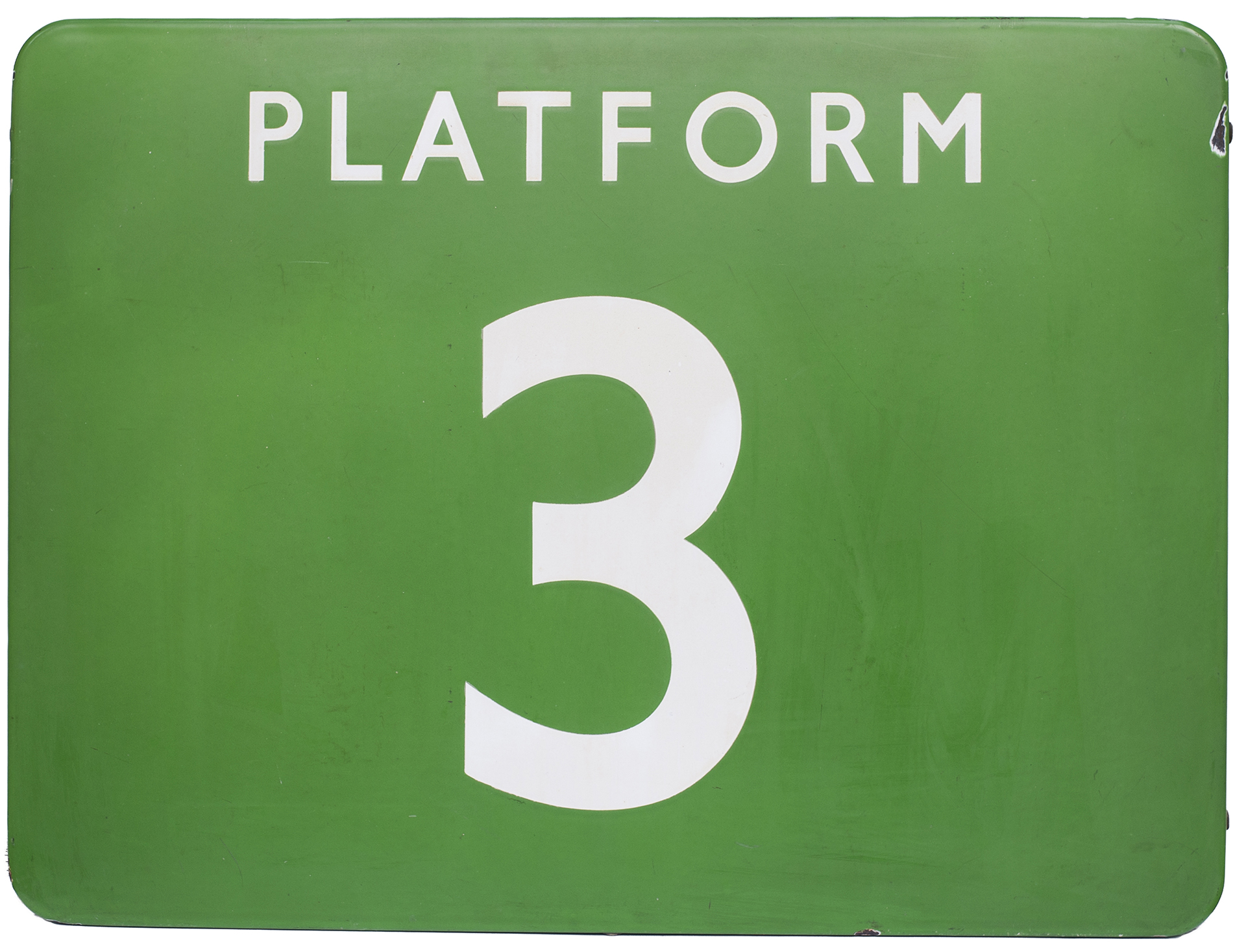 BR(S) FF enamel railway sign PLATFORM 3. In very good condition with a few minor chips. Measures