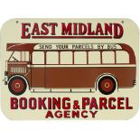 Bus motoring enamel sign EAST MIDLAND BOOKING & PARCEL AGENCY SEND YOUR PARCELS BY BUS. Double