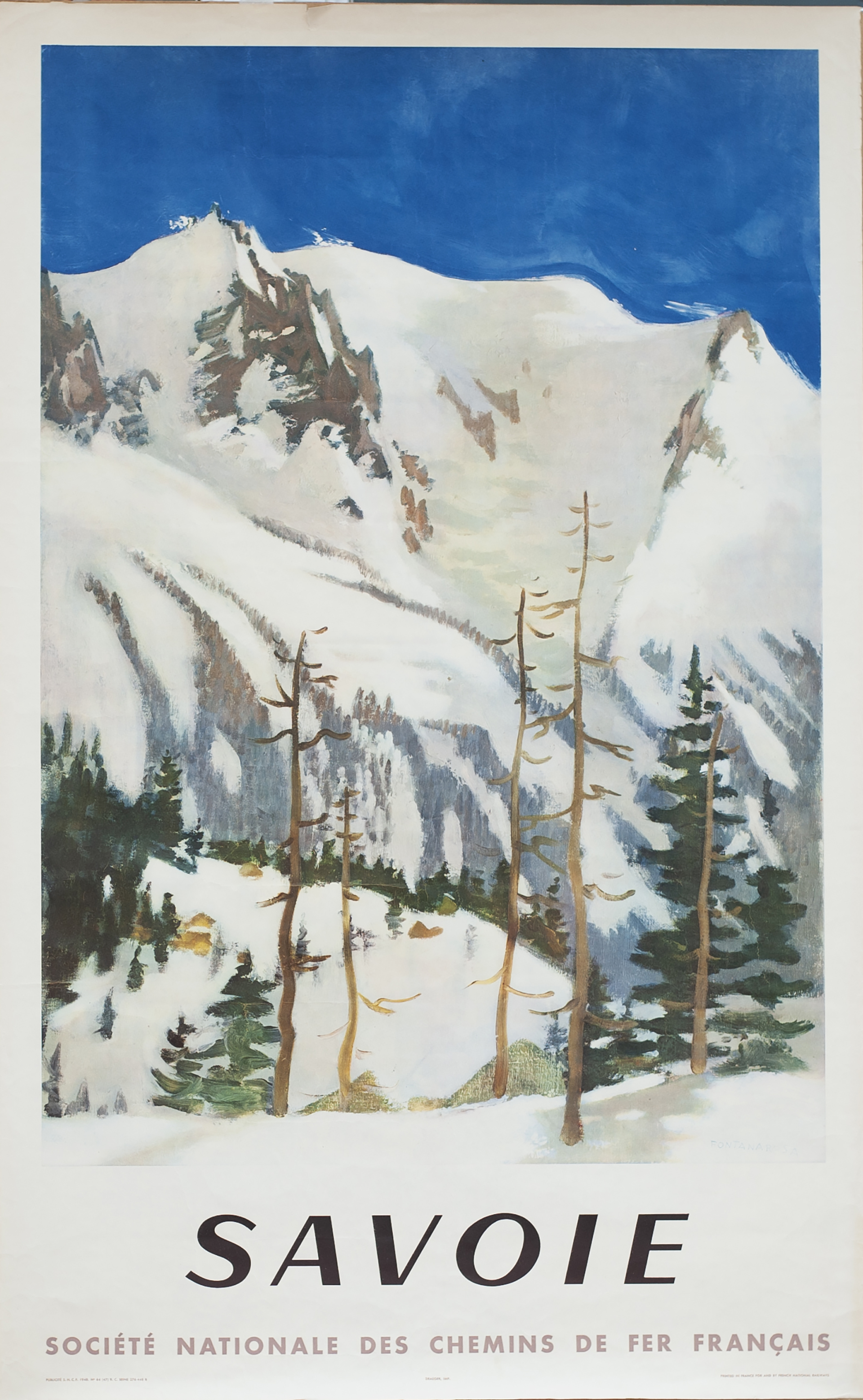 Poster SNCF SAVOIE by Fontanarosa published in 1948. Double Royal 25in x 40in. In very good