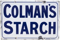 Advertising enamel sign COLMAN'S STARCH. In very good condition with minor edge chipping and small