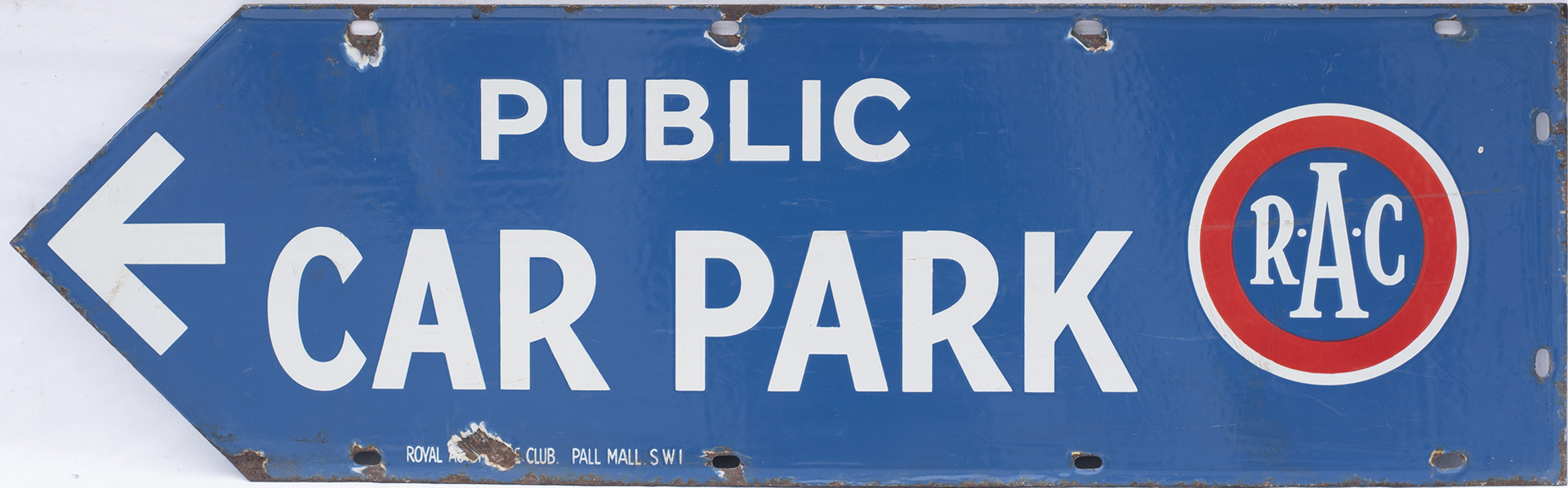 Advertising enamel motoring sign R.A.C PUBLIC CAR PARK circa 1920's. Double sided, both sides in - Image 2 of 2
