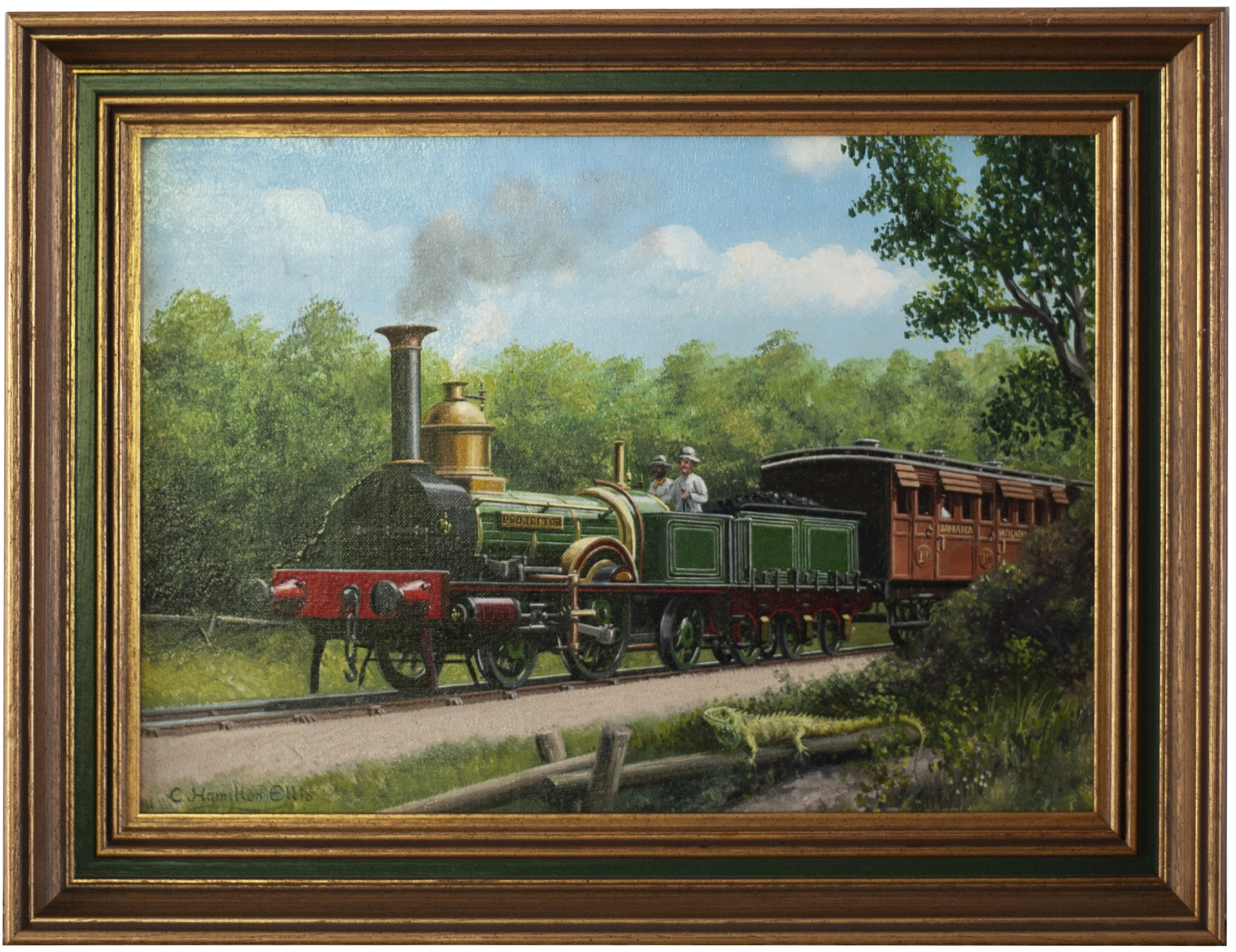 Original painting THE ENGINE AND THE IGUANA by Charles Hamilton Ellis. The painting depicts a