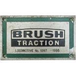 Worksplate BRUSH TRACTION LOCOMOTIVE No 1097 1995 ex British Railways electric class 92 92040 and