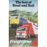 Poster BRB THE BEST OF ROAD AND RAIL showing a BR Class 87 on the Woodhead Line and a Freightliner