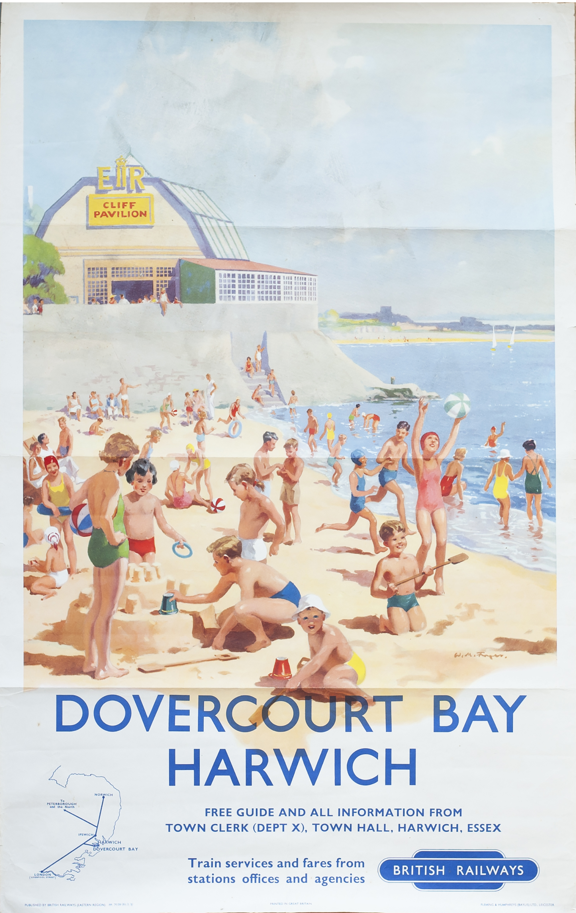 Poster BR(E) DOVERCOURT BAY HARWICH by W. M. Fryer. Double Royal 25in x 40in. In very good condition
