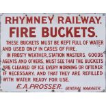 Rhymney Railway enamel sign RHYMNEY RAILWAY THESE BUCKETS MUST BE KEPT FULL OF WATER AND USED ONLY