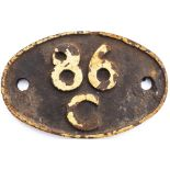 Shedplate 86C Cardiff Canton 1950-1961, Hereford 1961-1964. In as removed condition with clear