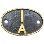 Shedplate 1A Willesden 1950-1973. In lightly face restored condition.