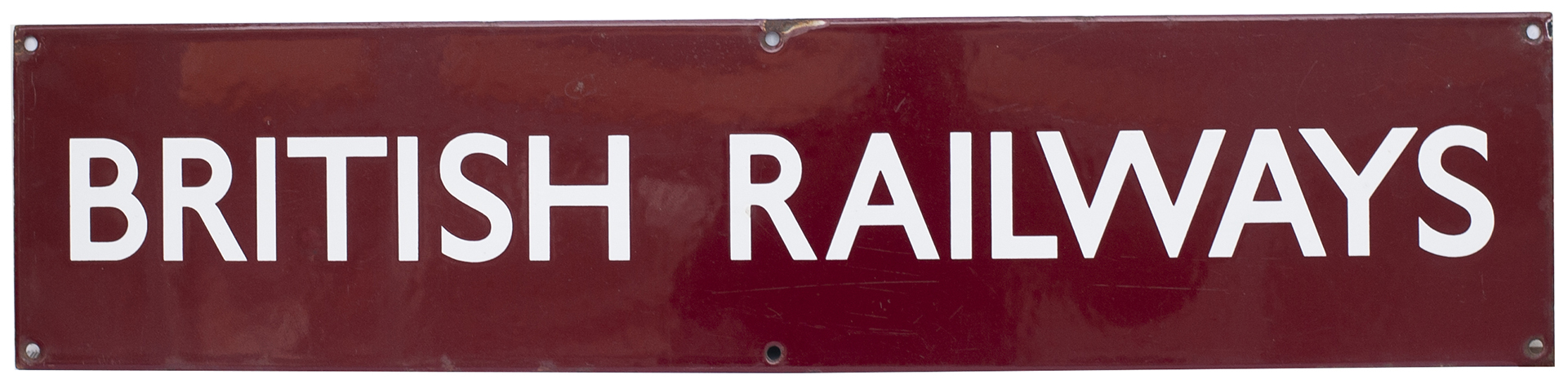 BR(M) Double Royal enamel poster board heading BRITISH RAILWAYS. In excellent condition with a