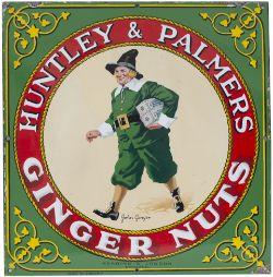 Advertising enamel sign HUNTLEY & PALMERS GINGER NUTS JOHN GINGER READING & LONDON. In excellent