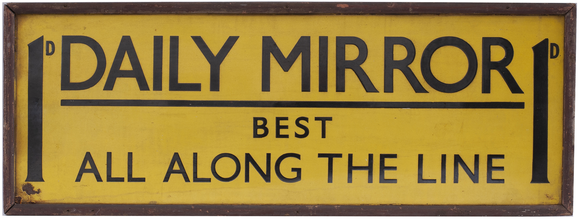 Advertising enamel sign 1D DAILY MIRROR BEST ALL ALONG THE LINE. In excellent condition with one