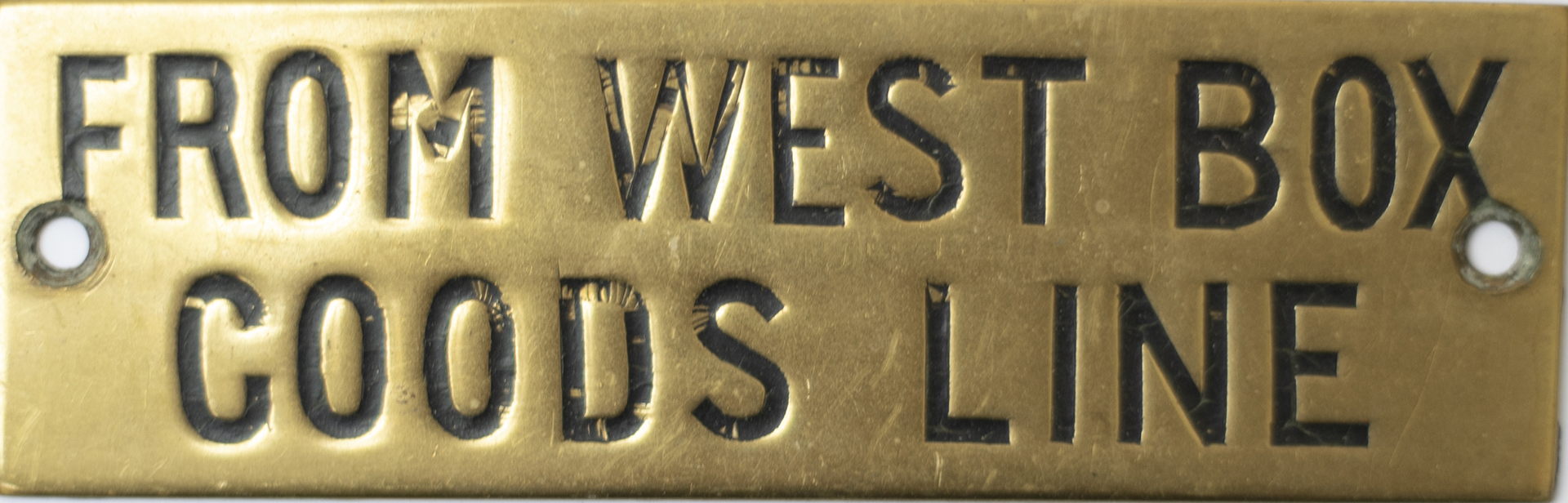 GWR hand engraved brass shelf plate FROM WEST BOX GOODS LINE. In very good condition with original