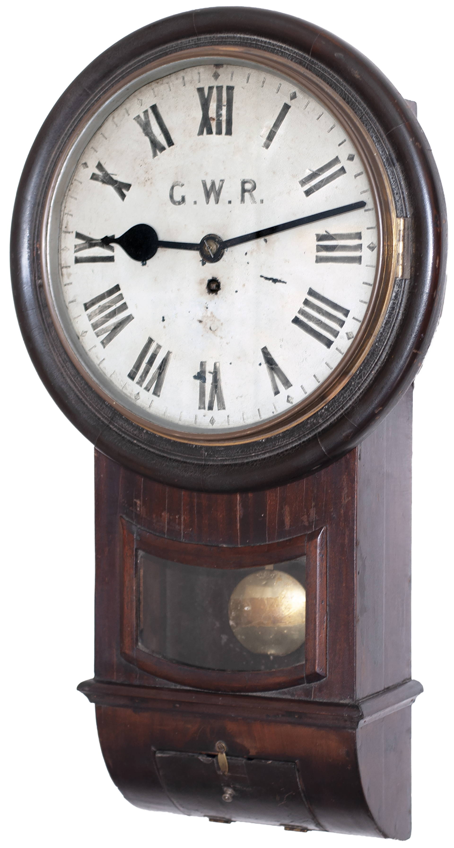 Great Western Railway 12 inch mahogany cased drop dial trunk fusee railway clock with a chain driven