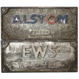 Diesel Bogie plates a pair ALSTOM 2000 and EWS BP 67-034-2000 ex Class 67 67018. Rectangular cast
