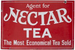 Advertising enamel sign AGENT FOR NECTAR TEA THE MOST ECONOMICAL TEA SOLD. In very good condition
