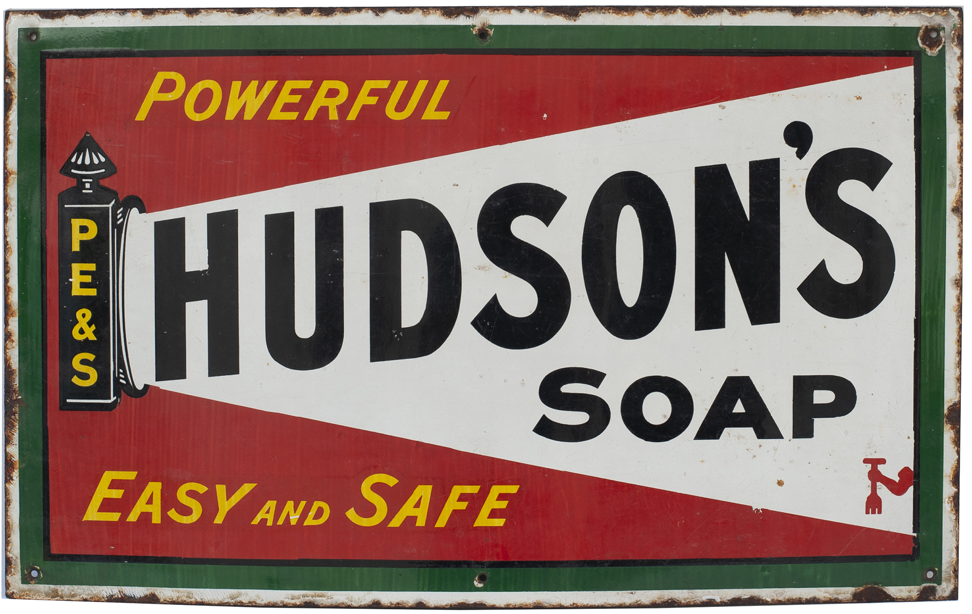 Advertising enamel sign HUDSON'S SOAP POWERFUL EASY AND SAFE. In very good condition measures 26in x