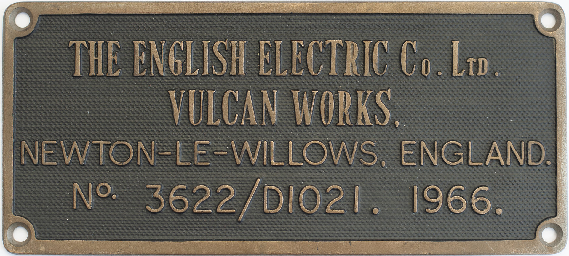 Worksplate THE ENGLISH ELECTRIC CO LTD VULCAN WORKS NEWTON-LE-WILLOWS ENGLAND No3622/D1021 1966 ex