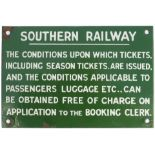 Southern Railway enamel sign re THE CONDITIONS UPON WHICH TICKETS ARE ISSUED etc. Measures 9in x 6in