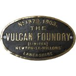 Worksplate THE VULCAN FOUNDRY (LIMITED) NEWTON-LE-WILLOWS LANCASHIRE No 1874 1903 ex Robinson C13