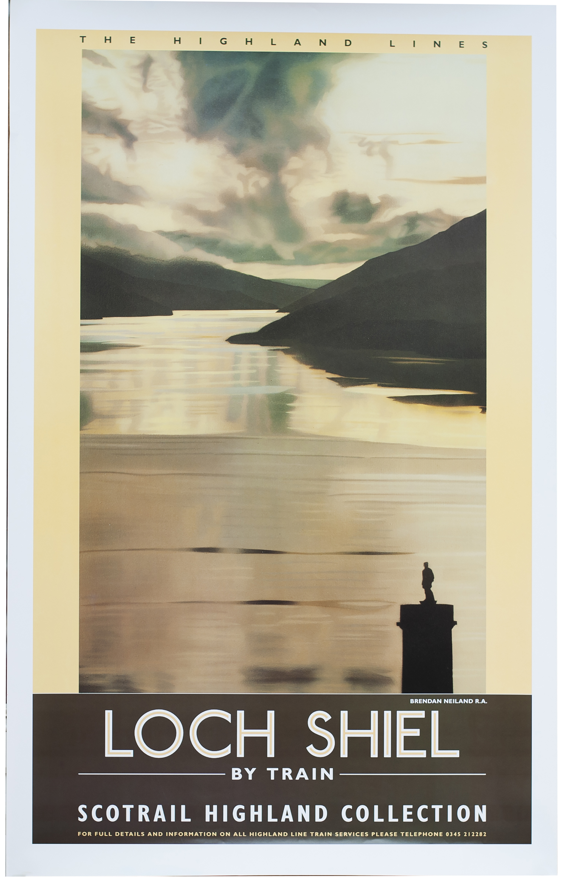 Poster SCOT RAIL LOCH SHIEL by Brendan Neiland R.A. Double Royal 25in x 40in. In excellent