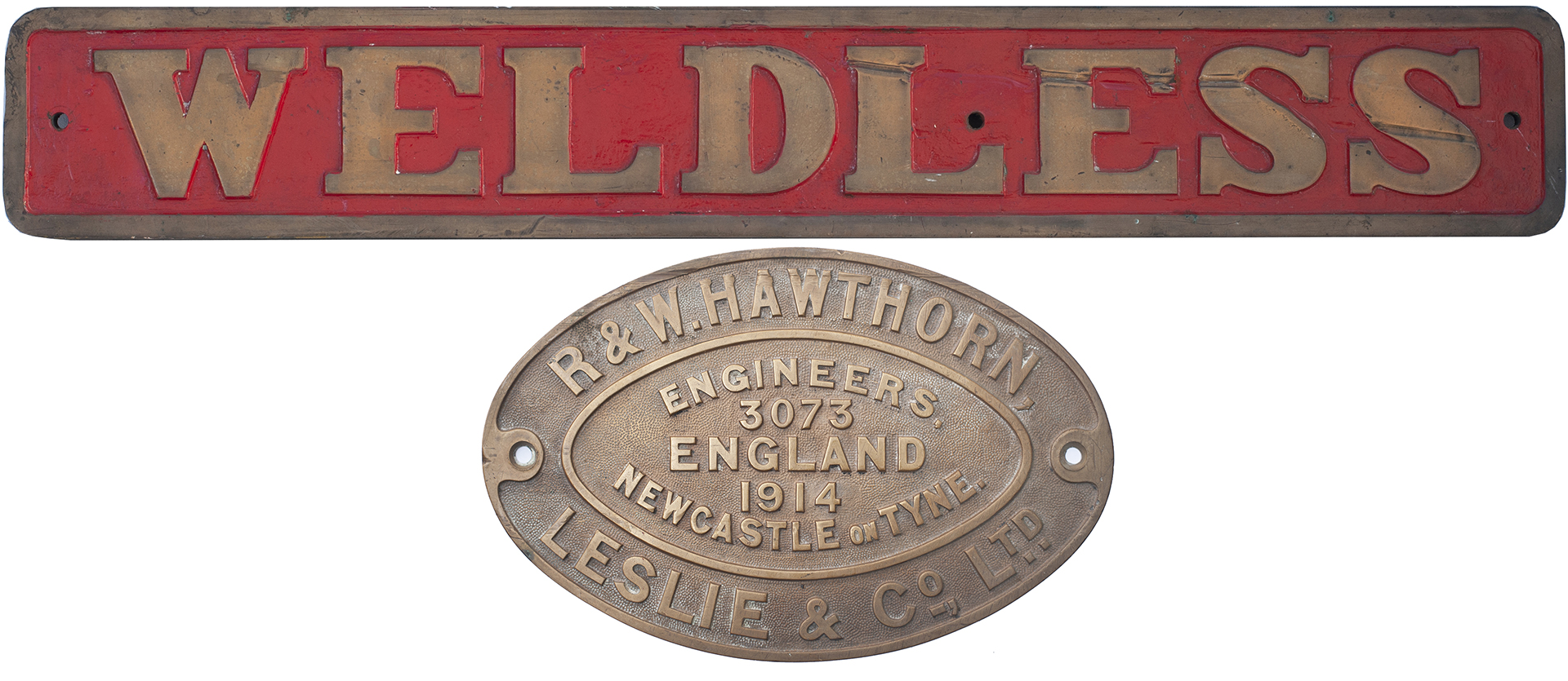 Nameplate WELDLESS together with its worksplate R&W HAWTHORN LESLIE & CO LTD ENGINEERS NEWCASTLE