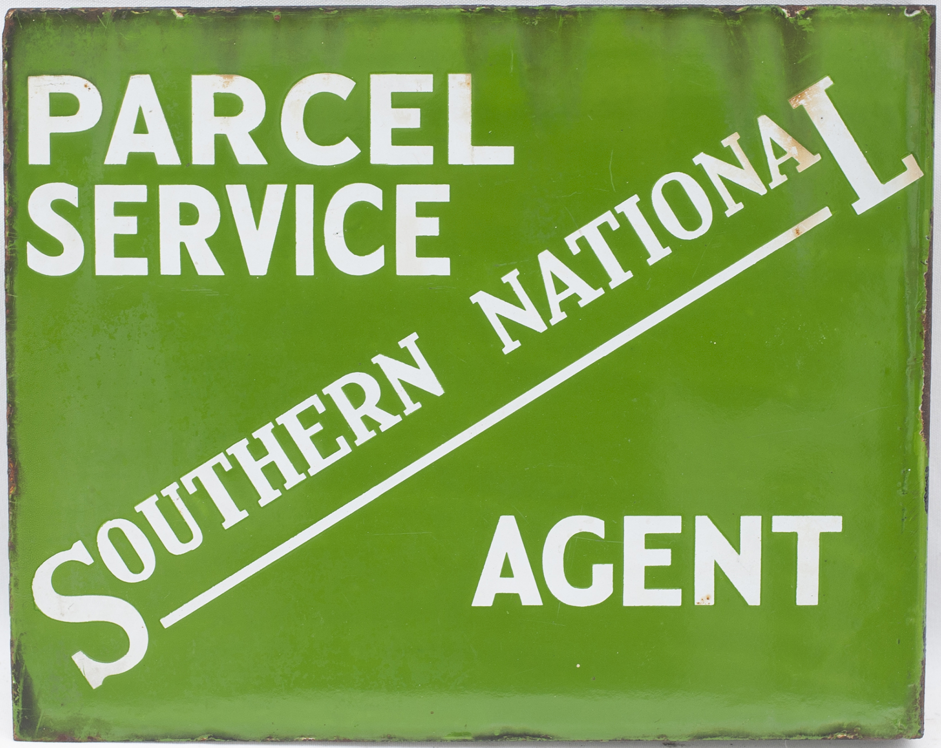 Bus motoring enamel sign SOUTHERN NATIONAL PARCEL SERVICE AGENT. Double sided with wall mounting - Image 2 of 2