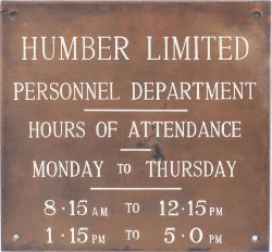 Bronze office plaque HUMBER LIMITED PERSONNEL DEPARTMENT measuring 9in x 8.25in. In excellent