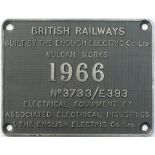 Worksplate BRITISH RAILWAYS DONCASTER 1966 No 3733/E393 BUILT BY THE ENGLISH ELECTRIC Co Ltd