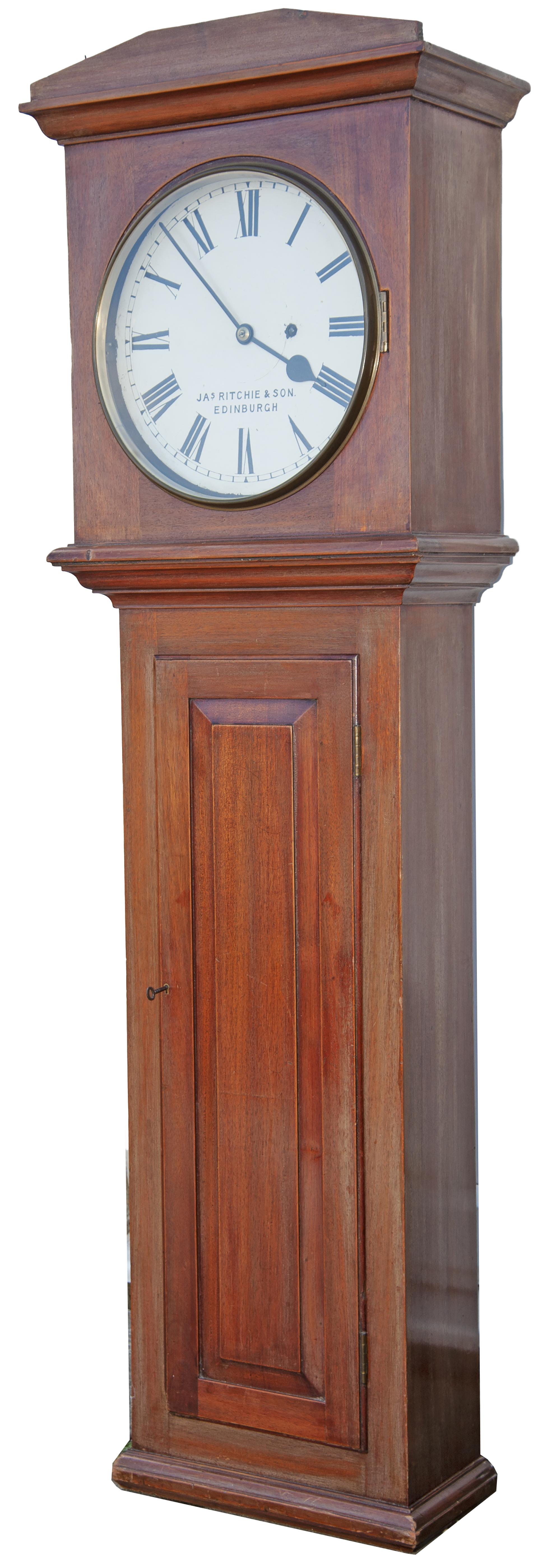 North British Railway 12in dial mahogany cased regulator railway wall clock. The rectangular